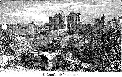 Alnwick Castle, in Alnwick, Northumberland County. 1890 vintage engraved illustration. Vector engraving, Location of various film, such as Harry Potter and Elizabeth.