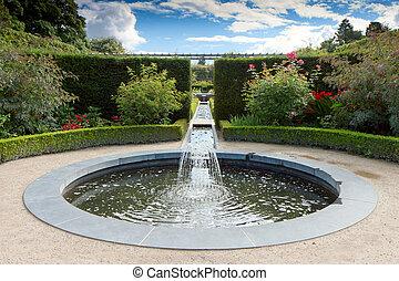 alnwick, northumberland, caractéristique, eau, château, ...