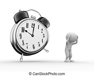 Aloarm clock - 3d people - men, and alarm clock. Sadness...