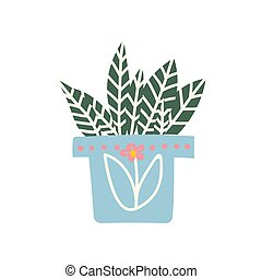 Alocasia House Plant Growing in Pot, Design Element for Natural Home Interior Decoration Vector Illustration