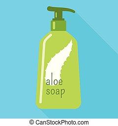 Aloe dispenser soap icon, flat style - Aloe dispenser soap...
