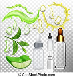 Aloe Drop Essence And Empty Bottle Set Vector