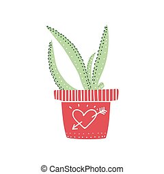 Aloe House Plant Growing in Pot, Design Element for Natural Home Interior Decoration Vector Illustration