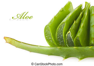 aloe leaves - Sliced aloe leaves isolated on white...