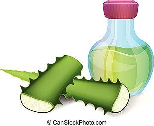 Aloe oil bottle icon, cartoon style