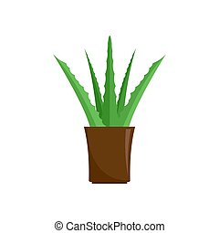 Aloe plant icon, flat style