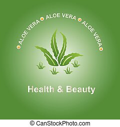 aloe vela - Vector illustration; Aloe vera icon on a green ...