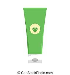 Aloe vera creme tube icon, flat style