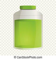 Aloe vera oil jar icon, cartoon style