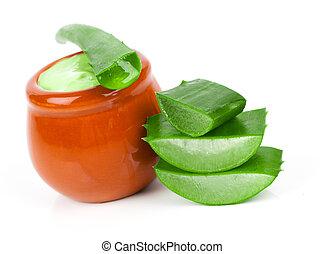 aloe-vera, pflanze, mit, creme, freigestellt, weiß, hintergrund