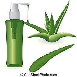 Aloe vera plant and a bottle of gel
