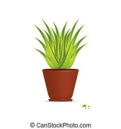 Aloe Vera plant in pot isolated on white. Vector