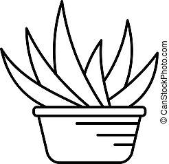 Aloe vera pot icon, outline style