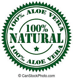 Aloe Vera-stamp - Rubber stamp with text 100% Aloe Vera, ...