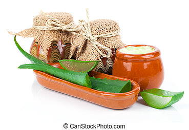 aloe-vera, växt, med, grädde, isolerat, vita, bakgrund