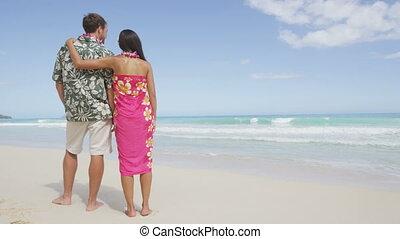 aloha, couple, habillement, plage, hawaien