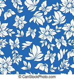 Aloha Flower Pattern Blue - Seamless hawaiian flower pattern...