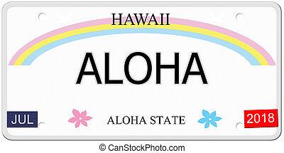 aloha, havaí, chapa de licença