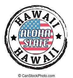 aloha, hawai, stato, francobollo