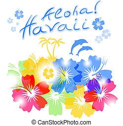 Aloha Hawaii Background with palm trees silhouettes and hibiscus flowers