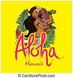 Aloha Hawaii Girl Dancing Hula Background Vector Image