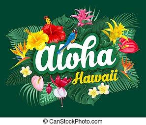 aloha, hawaii, lettering, en, tropische , planten