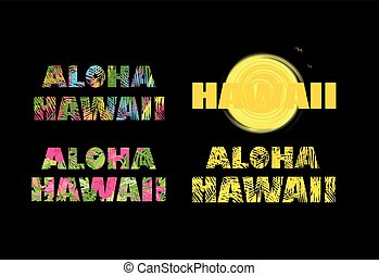 Aloha Hawaii. T-shirt prints with colorful palm leaves -...