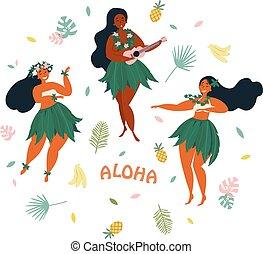 Aloha. Hawaiian holidays poster with Hula dancer