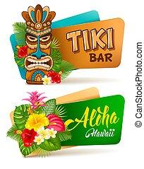 Aloha Tiki bar banners set - Hot and exotic tropics. Banners...