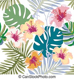 Aloha tropical print. - Seamless vector pattern with palm...