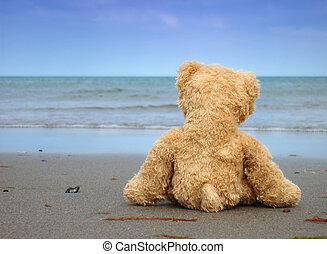 Alone and Desperate - Teddy alone at the Beach - Symbolic...