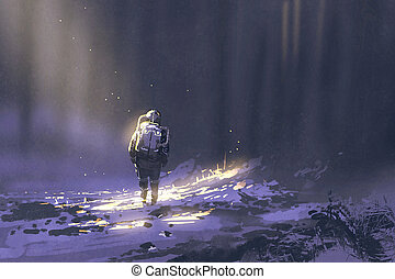 alone astronaut walking in snow, illustration painting