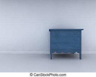 Alone blue bedside in minimalist interior
