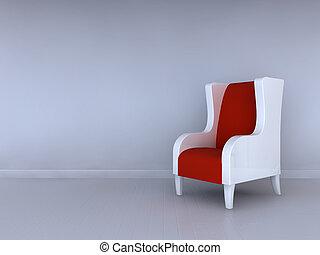 Alone blue chair in minimalist interior