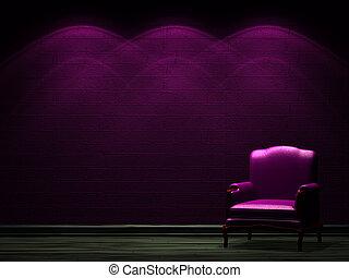 Alone chair in dark minimalist interior