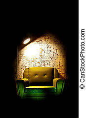 Alone chair in dark room