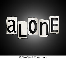 Alone concept. - Illustration depicting a set of cut out...
