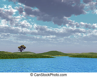 Alone costing tree on field on a background of blue water and the cloudy sky