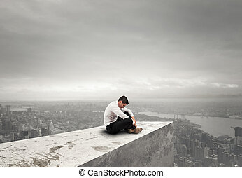 Alone desperate businessman. solitude and failure concept