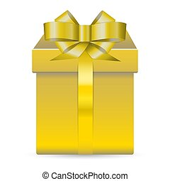 Alone golden shiny box for presents decorated with glossy bow isolated on white background. Realistic illustration.