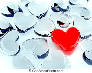 alone heart - red heart surrounded by glass hearts