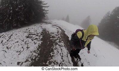 Alone hiker trekking in Switzerland Alps mountains - Alone...