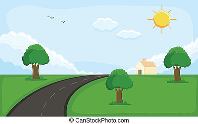 Alone House Landscape Scenery - Drawing Art of rural...