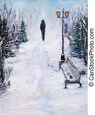 Alone in park - Original abstract oil painting of beautiful ...