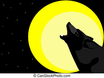 Alone in the Night - Lone Wolf starry night howling at the ...