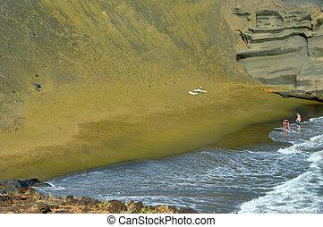 Alone on Green Sand Beach