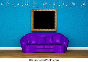 Alone purple sofa in blue interior