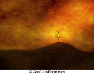 Alone tree on grungy background