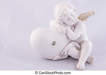 Alone Valentine Angel sleeping on heart