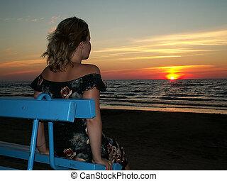 alone woman & sunset